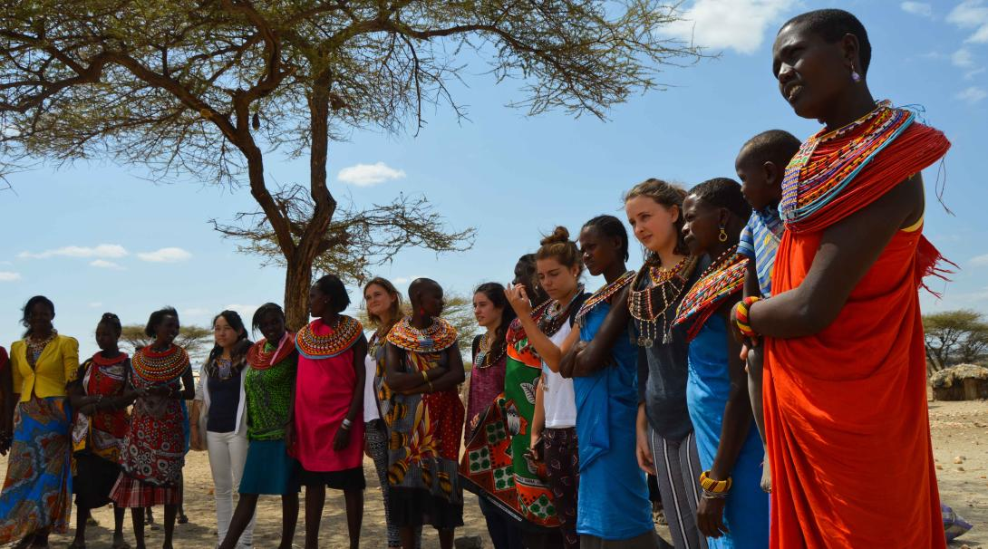 Projects Abroad volunteers getting to know the Samburu people in Kenya as part of their cultural immersion